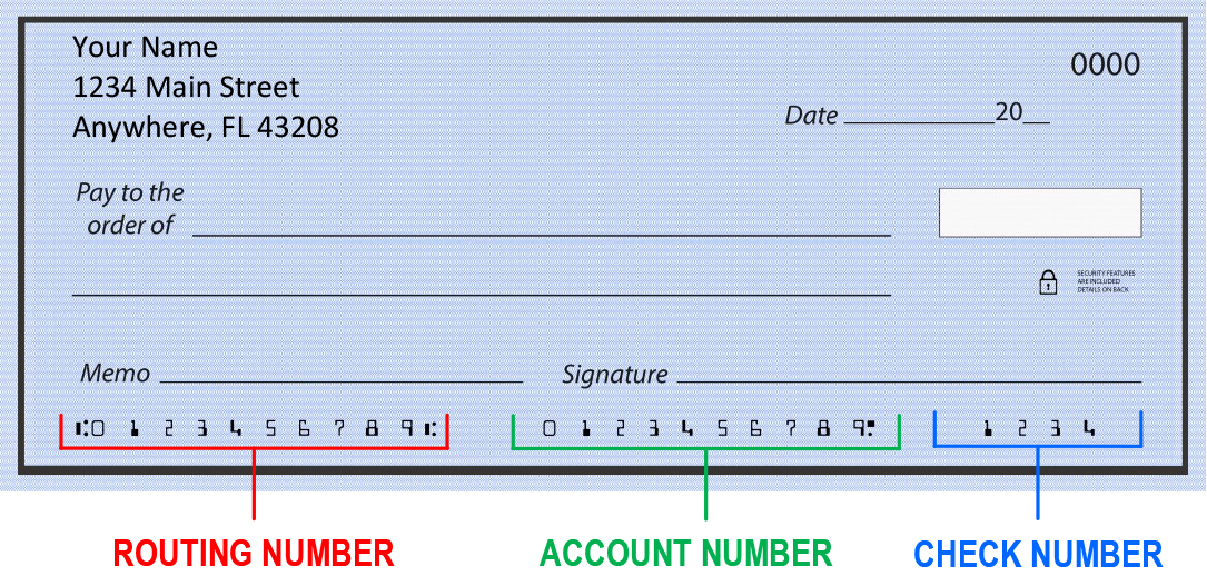 Example of routing numbers for direct deposit
